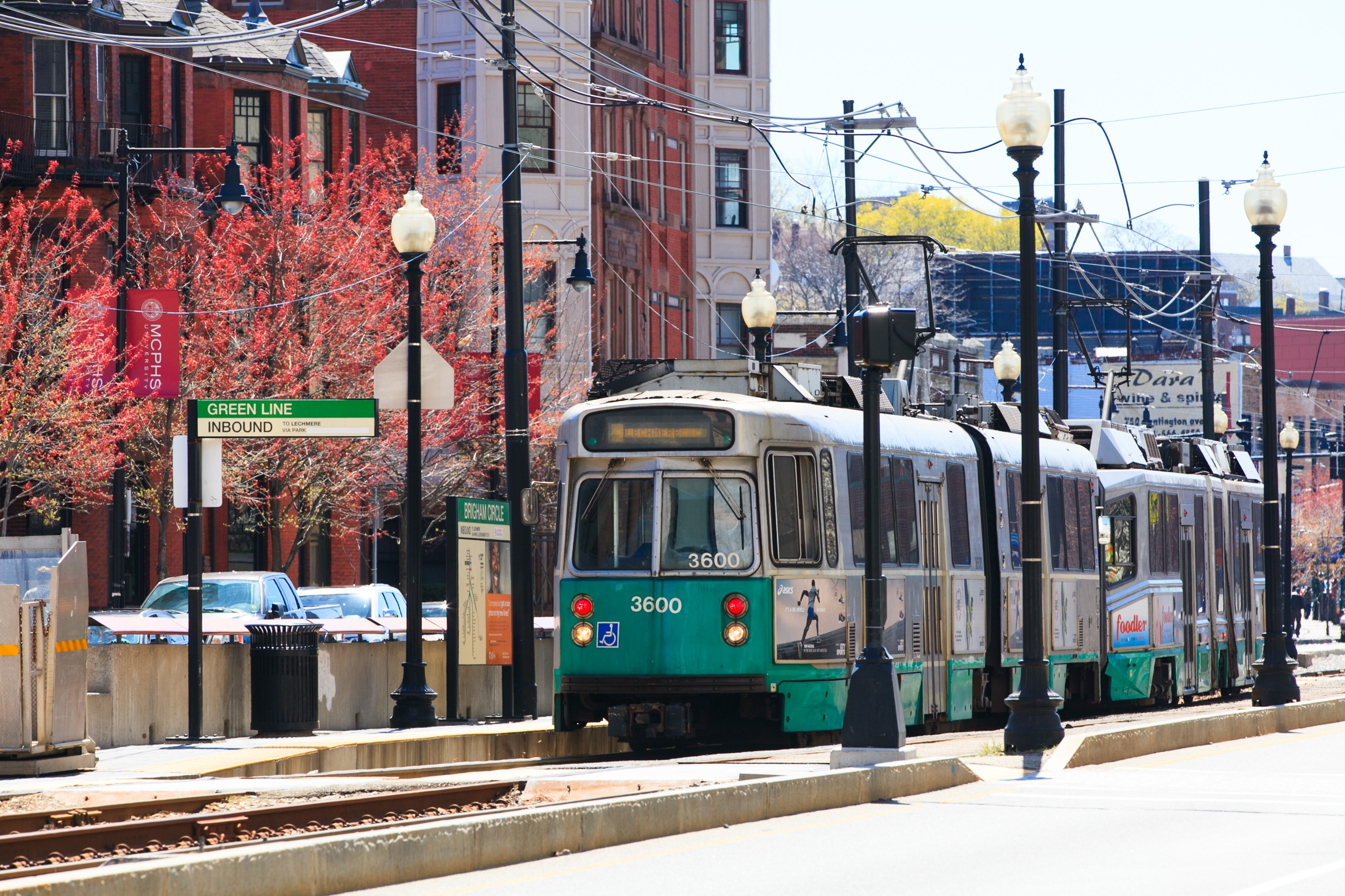 Boston traffic and public transportation system on the Green Line.
